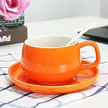 SSBY Keramik-Kaffeetasse Cup-Becher Mit Löffel Wohnzimmer Büro Ein Glas Wasser Zu Trinken Mit Kissen Die Milch-CupDes