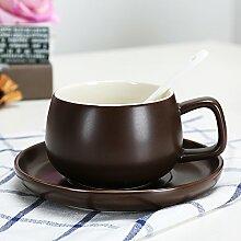SSBY Keramik-Kaffeetasse Cup-Becher Mit Löffel Wohnzimmer Büro Ein Glas Wasser Zu Trinken Mit Kissen Die Milch-CupKaffee