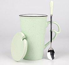 SSBY Keramik-Süße Milch Tasse Kaffee Ein Paar Tassen Löffel Becher Mit DeckenGrüne