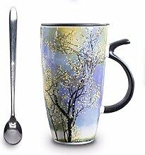 SSBY Kreative Malerei Keramik Becher Löffel Milch bulk Glas Tasse mit Deckel paar Wasser Schale, Feder