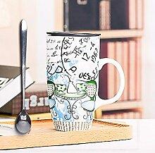 SSBY Kreative Malerei Keramik Becher Löffel Milch bulk Glas Tasse mit Deckel paar Schale Wasser,C