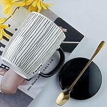 SSBY-/minimalistische Kaffeebecher mit Milch-Frühstück Tasse Mit geometrischen Mustern Paar, a