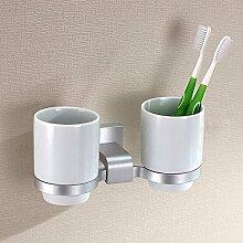 SSBY Raum aus Aluminium verdickte Zahnbürstenhalter Cup, doppelte Cupholder, kreative Zahnbürstenhalter Paare Zähne Cup Becher