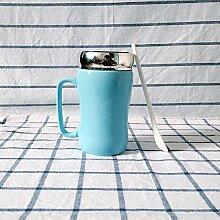 SSBY Reine Farbe Glasierte Keramische Becher-Cup Mit Deckel Löffel Spiegel Ein Glas Wasser Zu Trinken Ein Paar Becher Milchkaffee Tassen BecherBlau