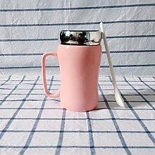 SSBY Reine Farbe Glasierte Keramische Becher-Cup Mit Deckel Löffel Spiegel Ein Glas Wasser Zu Trinken Ein Paar Becher Milchkaffee Tassen BecherPink