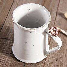 ssby Retro Creative Kaffeetasse aus Keramik Simple weiß Becher