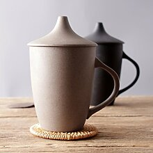 SSBY Retro-Grob Keramik-Becher Mit Decken Keramik-Cup Büro Großen Haushalts-Wasser-GlasGelb