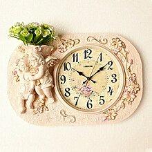 SSBY Retro wall clock clock Mute tisch wohnzimmer schlafzimmer Kunst Blumen dekorative Wanduhr,a