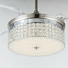 SSBY Stealth Decke Ventilator Lichter, einfache Kristall stealth Fan Lichter, Wohnzimmer Esszimmer Fan Kronleuchter
