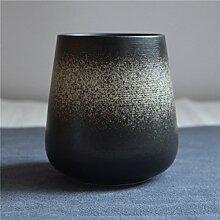 SSBY Vintage Japanische Keramik-Tasse Kaffee Becher mit Löffel Kreative Persönlichkeit Milchglas Becher Tasse Glas-Liebhaber e