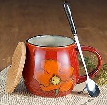 SSBY Von Hand Bemalt Frühstück Löffel Becher Mit Decken Keramische Getrunken Becher Gibt´S Große Weiße KaffeetassenEin