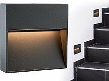 SSC-LUXon® LED Wand-leuchte KEILA anthrazit eckig - Wand & Treppen-leuchte IP54 für innen und außen, 2W warm-weiß 2700K