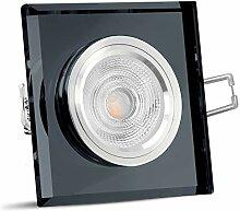 SSC-LUXon schwarzer LED Einbaustrahler aus Glas