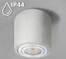 SSC-LUXon® Spotlampe rund in Alu gebürstet - mit IP44 Schutz für Badezimmer - Decken Aufbauleuchte inkl. LED GU10 5W warmweiß