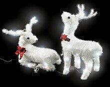 SSITG 2 LED Rentiere mit Schleife Weihnachts Beleuchtung Set Weihnachtsdeko Elch außen