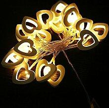 SSITG 2M LED Warmweiß Holz Herz Party Weihnachten Batterie Lichterkette Beleuchtung (deutsche Lager 3-7 Tagen Lieferzeit)