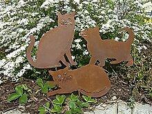 SSITG 3 Edelrost Gartenstecker Katze Katzen Kätzchen Metall Rost Deko Gartendeko NEU