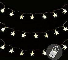 SSITG 3er Set 20er LED Lichterkette warmweiß Stern Weihnachten Batterie X-Mas Deko