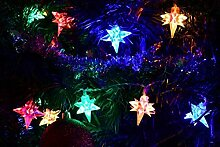 SSITG 40er LED Lichterkette Stern Außen Weihnachten bunt Sternenlichterkette XMAS