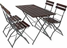 SSITG 4x Tisch + 2x Stuhl Biergarten-Garnitur Garten-Garnitur