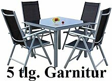 SSITG 5tlg. Alu Gartenmöbel-Set Gartengarnitur