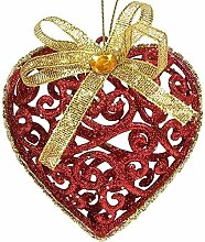 SSITG 6 St.Rot Gold Weihnachts Herze Christbaumkugeln Baumschmuck Weihnachtsdeco Glitz