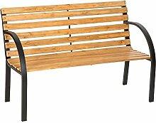 SSITG Gartenbank Eukalyptus Holz Gartenmöbel Parkbank Sitzbank Bank Metall Hartholz