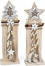 SSITG Holz Weihnachtsdeko Holzpfahl mit Tannenbaum / Stern & Schleife 1 Stk. je 44 cm