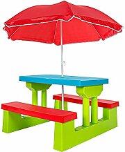 SSITG Kindersitzgruppe Kinder Sitzgarnitur Kindertisch Bank Kindermöbel + Sonnenschirm