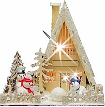 SSITG LED Holzhaus mit Schneemännern Fensterdeko Advent Weihnachtsdeko Weihnachtshaus