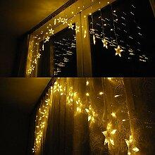 SSITG LED Lichtervorhang Lichterkette Lichternetz sterne Weihnachten Garten Deko Netz warmweiß (deutsche Lager 3-7 Tagen Lieferzeit)