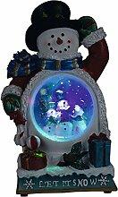 SSITG LED Schneemann beleuchtet als Schneekugel