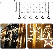 SSITG LED Stern Lichterkette Lichtervorhang Vorhang Hochzeits Weihnachtsbeleuchtung