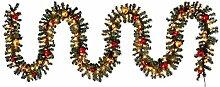 SSITG LED Tannengirlande Girlande XXL beleuchtet 5m Kunsttannengirlande Weihnachtsdeko