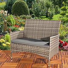 SSITG Poly Rattan Gartenbank in grau + Sitzpolster