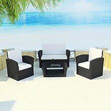 SSITG Poly Rattan Gartenmöbel Lounge Sitzgruppe Sitzgarnitur Stühle Bank Tisch Kissen