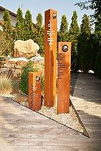 SSITG Säulen Set Modern Edelrost mit Edelstahl - Kugeln Rost Garten Dekoration Stele