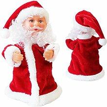 SSITG Singender Weihnachtsmann Tanzend 18cm Weihnachts Deko Weihnachten Figur Nikolaus (3-7 Tagen Lieferzeit)