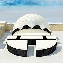 SSITG Sonneninsel Poly Rattan Lounge Sonnenliege Gartenlounge Gartenliege Sitzgarnitur