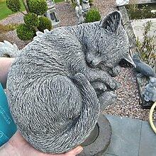 SSITG Steinfigur Katze Schlafend Mieze Deko Garten Tier Figur Gartenfiguren Skulptur