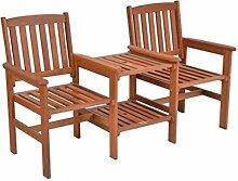 SSITG Tee-Bench Gartenbank mit Tisch 2 Sitzer