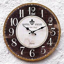 SSITG Uhr Wanduhr Küchenuhr Küche Wand braun