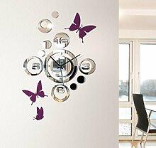 SSITG Wanduhr Spiegel Design Uhr Schmetterlinge violett 1091W Dekoration Wandtattoo