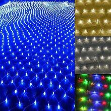 SSITG Weihnachten LED Lichternetz Lichtervorhang Innen Außen Garten Lichterkett Deko blau 4.5*1.6m (3-5 Tagen Lieferzeit)