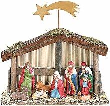SSITG Weihnachts-Krippe (10-teilig) mit handbemalten Porzellan-Figuren