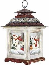SSITG Weihnachtslaterne Schneemann Weiß ca. 27cm