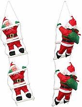 SSITG Weihnachtsmänner auf Leiter 65cm Weihnachts Mann Deko Weihnachten Figur Nikolaus (3-7 Tagen Lieferzeit)