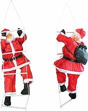 SSITG Weihnachtsmann auf Leiter 90cm Weihnachts Deko Weihnachten Figur Nikolaus (3-7 Tagen Lieferzeit)