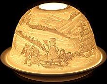 SSITG Windlicht Porzellan Teelichthalter Windlichter Teelichter Weihnachten Tischdeko Schlitten mit Kindern