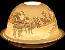 SSITG Windlicht Porzellan Teelichthalter Windlichter Teelichter Weihnachten Tischdeko Weihnachtsmann
